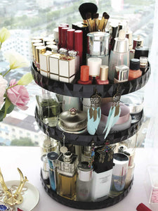 Amazon best modern chic makeup organizer 360 rotation black adjustable height 3 layers storage fit makeup lipstick cosmetic skincare perfume perfect on dresser bedroom bathroom countertop