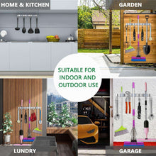 Load image into Gallery viewer, Storage mop broom holder wall mounted 3 position 4 hooks saving space storage rack stainless steel tool holder ideal utility racks for room kitchen bathroom garden garage offices light grey