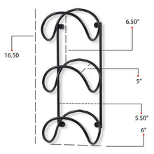 Load image into Gallery viewer, Storage wallniture wrought iron metal towel rack solid quality wall mountable for bathroom storage large enough to fit rolled bath beach towels black set of 2