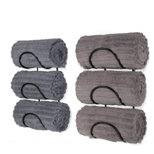 Load image into Gallery viewer, Shop wallniture wrought iron metal towel rack solid quality wall mountable for bathroom storage large enough to fit rolled bath beach towels black set of 2