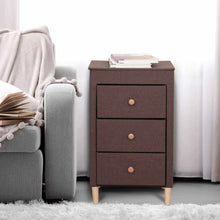 Load image into Gallery viewer, Best itidy 3 drawer dresser premium linen fabric nightstand bedside table end table storage drawer chest for nursery closet bedroom and bathroom storage drawer unit no tool requried to assemble brown