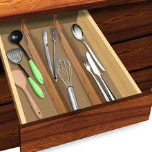 Load image into Gallery viewer, Latest luckyshe bamboo drawer dividers adjustable spring kitchen drawer dividers expandable eco friendly drawer organizers and dividers for kitchen dresser bathroom desk bedroom pack of 4