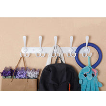 Load image into Gallery viewer, Exclusive webi coat rack wall mounted 5 tri hooks decorative coat hook rack triple hook rail wall hooks for bathroom kitchen office entryway closet white 2 packs