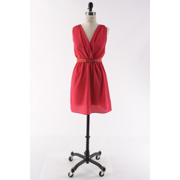 Fuchsia V-neck Dress