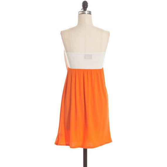 Orange and white bow dress
