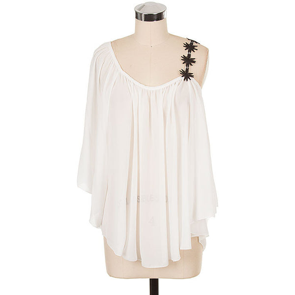 White Sheer Flirty Chiffon Top