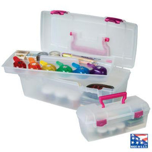 Essentials Lift-out Tray-Raspberry Handle - Storage 4 Crafts