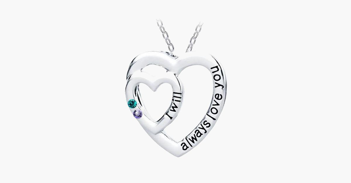 I Will Always Love You With Colored Stones Pendant