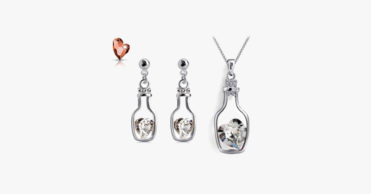 Love Bottle Necklace and Earring Set