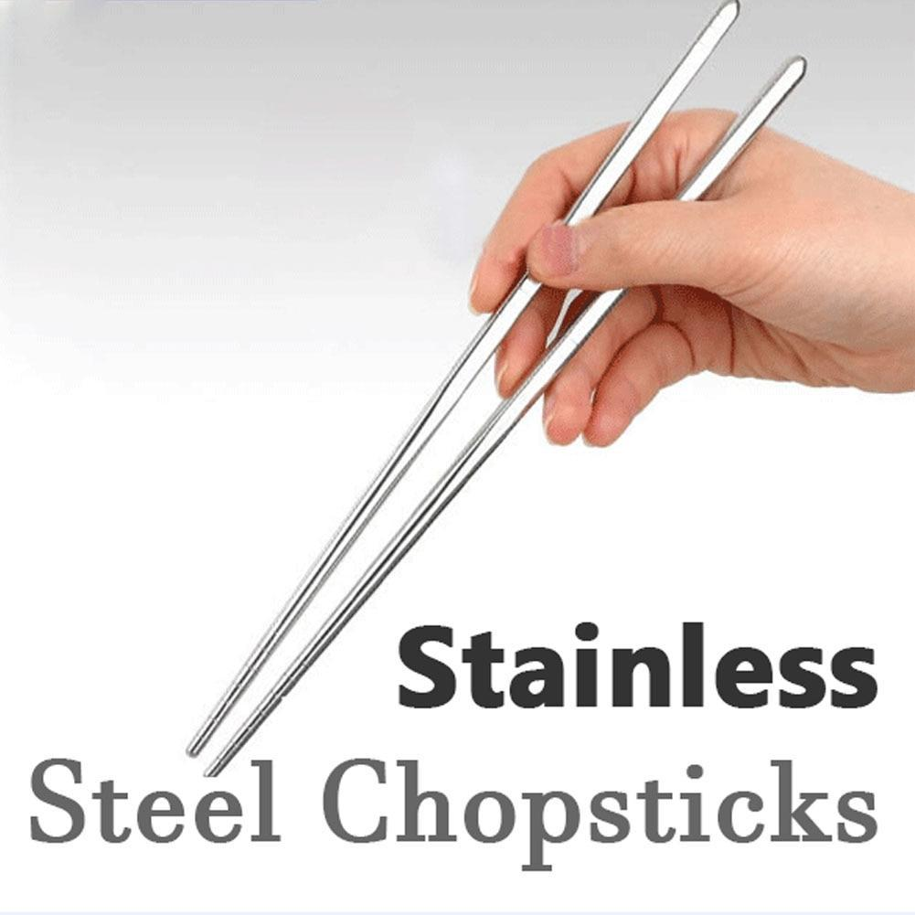 1 Pair High Quality Durable Stainless Steel Chopsticks Stylish Design Picnic Camping Hiking Tableware Tool Outdoor Dinnerware JC