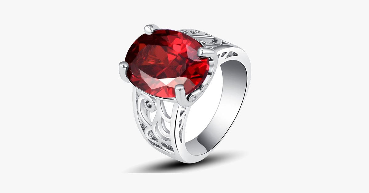 Garnet Bold Love Ring
