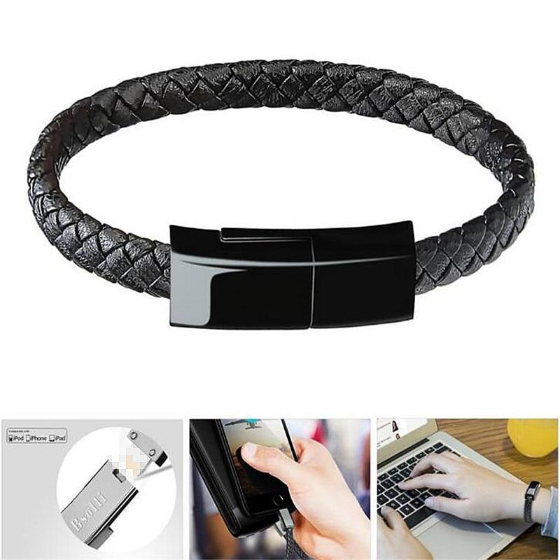 Leather Bracelet Charger For iPhone 6 6s 7Plus Android Type-C Phone