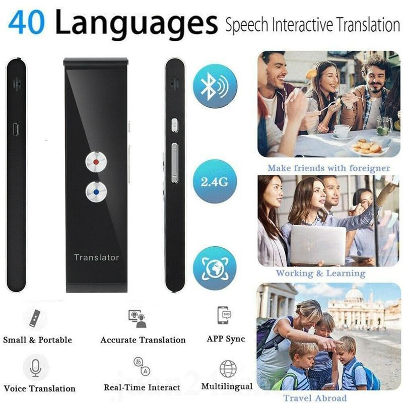 T8 Handheld Pocket Smart Voice Translator Real Time Speech Translation, 40 Languages for Travel Business Shopping Meeting Translator