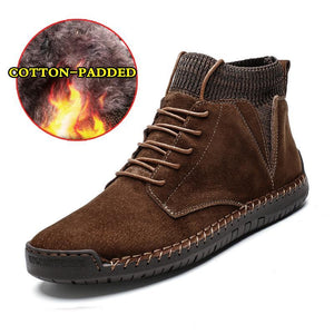 Men Suede Fabric Hand Stitching Warm Plush Lining Ankle Boots