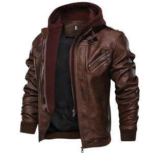 (HOT SALE!!)Vintage Removable Hoodie Leather Jacket
