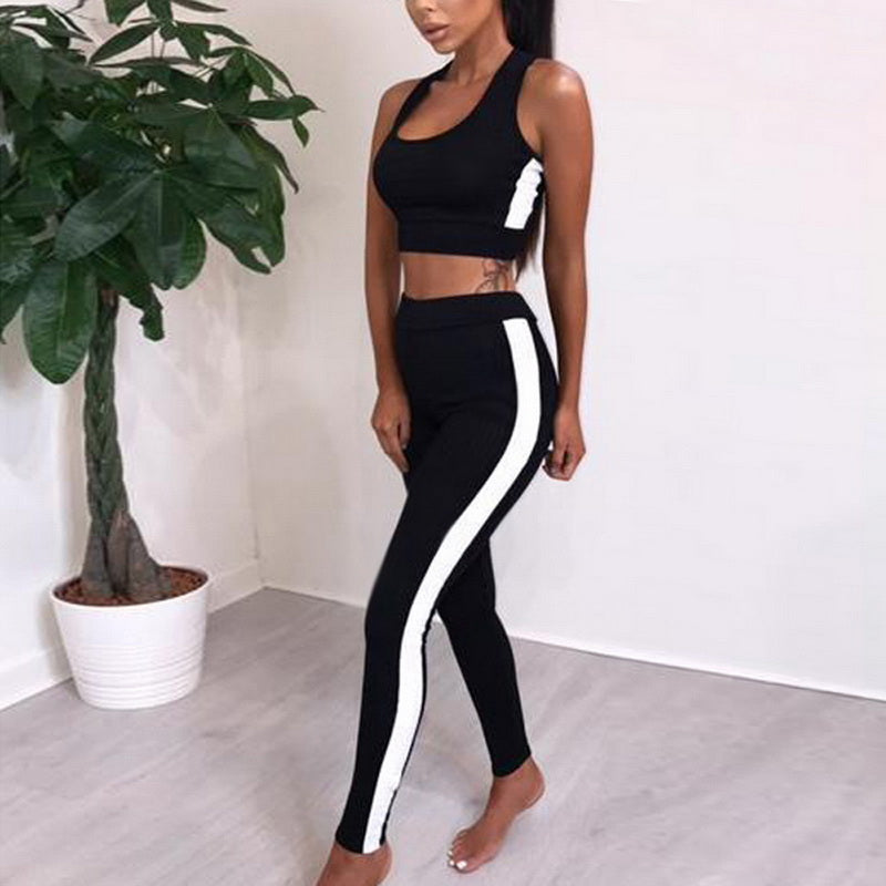 Women's Fitness Yoga Suit Sport set Two Piece Jumpsuit Crop top