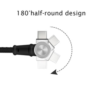 USB 180 degree rotation magnetic cable for Type C & Micro & iPhone