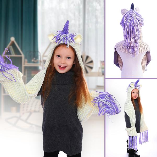 Crochet Cartoon Unicorn Winter Hat With Scarf Pocket