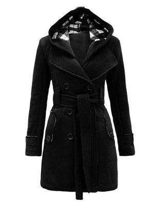 Double Breasted Slim Hoodie Solid Casual Long Pea Coat With Belt