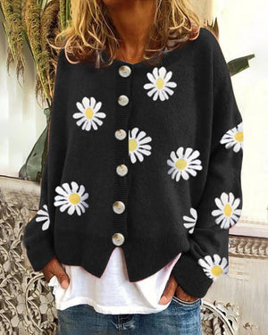 Sweet Daisy Pattern Button Cardigan