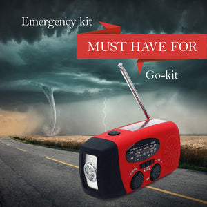 Emergency hand crank self-powered radio