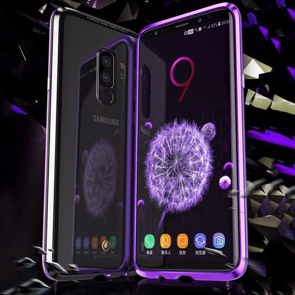 2019 New Magnetic Adsorption Metal Clear Glass Protective Case for Samsung Galaxy Note 9 / S9 / S9 Plus