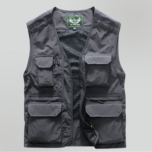 Outdoor climbing vest quick-drying mesh vest multi-pocket