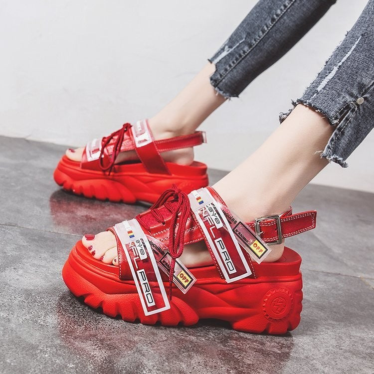 2019 women's 8 cm wedge casual leather buckle  thick sandals