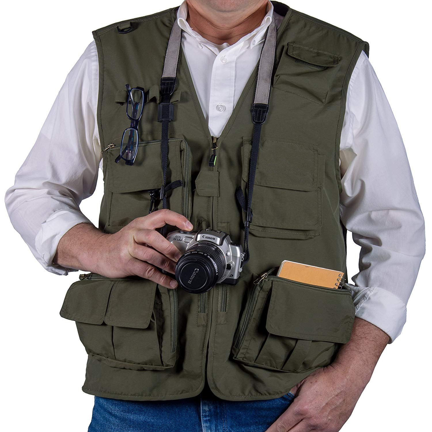 Outdoor Lightweight Mesh Fabric Vest With 16 Pockets