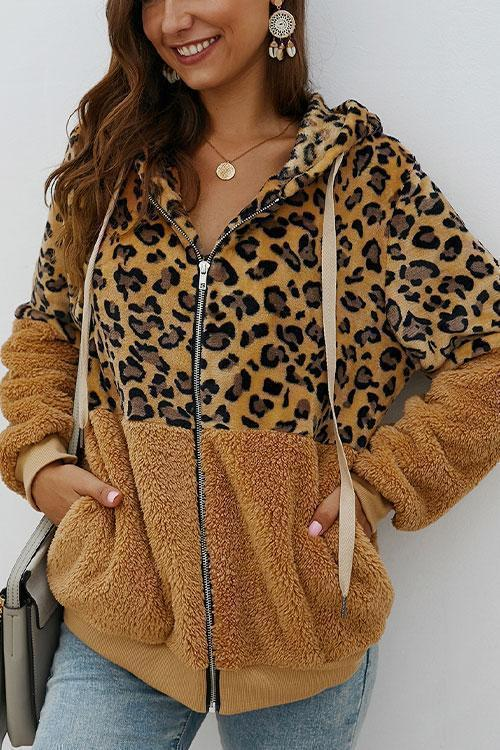 Leopard Zip-Up Patchwork Hooded Coat
