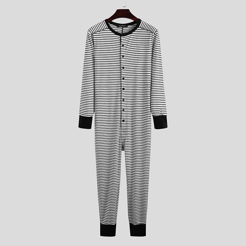 Men All In One Bodysuit Striped Pajama Jumpsuit Leotard