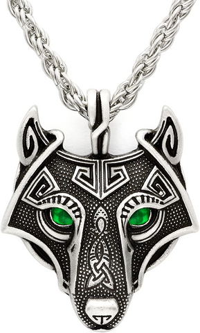 norse viking emerald gemstones silver wolf necklace-american wolves
