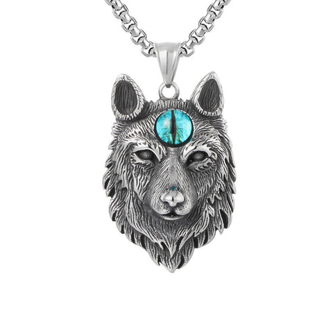 24-inch Third Blue Eye Wolf Necklace - American Wolves