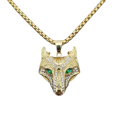27-inch Diamond Gold Wolf Necklace - American Wolves