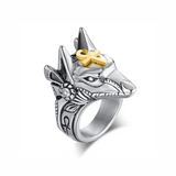 Anubis Steel Wolf Ring - American Wolves