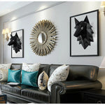 Black Origami 3D Wolf Head Wall Art - American Wolves