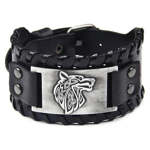 Black Silver Vintage Leather Wolf Bracelet - American Wolves