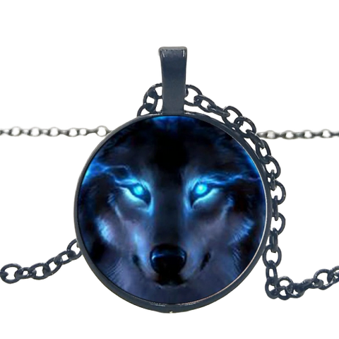 Blue Fire Eyes Black Wolf Necklace - American Wolves