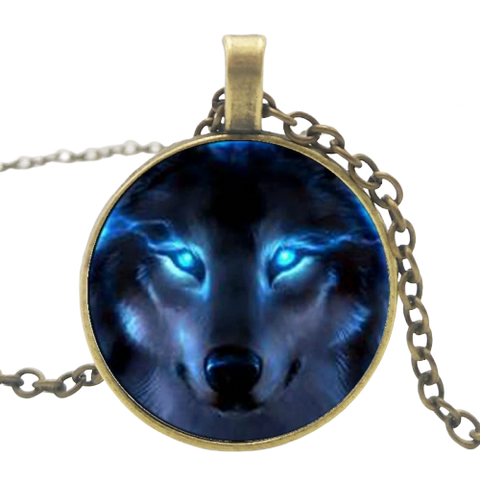 Blue Fire Eyes Bronze Wolf Necklace - American Wolves