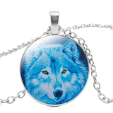 Blue Fur Silver Wolf Necklace - American Wolves
