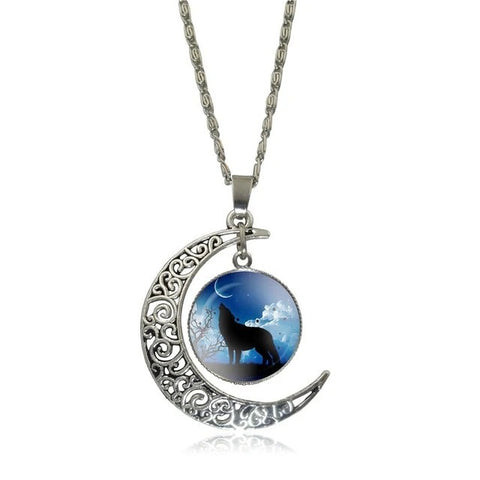 Blue Moon Howling Wolf Necklace - American Wolves