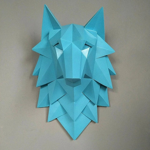 Blue Origami 3D Wolf Head Wall Art - American Wolves