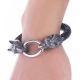 Braided Leather Two-Headed Wolf Bracelet - American Wolves