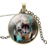 Dream Catcher Bronze Wolf Necklace - American Wolves