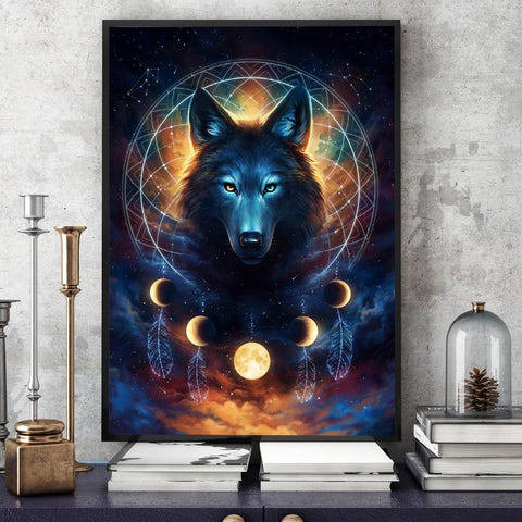 Dream Catcher Wolf Wall Art - American Wolves