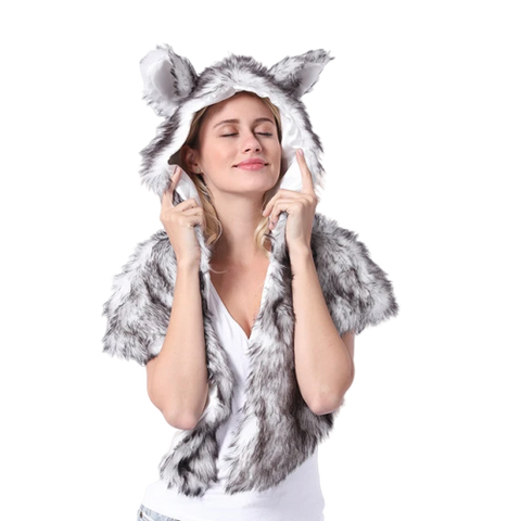 Faux Fur Gray Wolf Hood - American Wolves