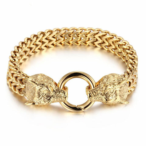 Freki and Geri Gold Wolf Bracelet - American Wolves