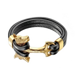 Gold Double Headed Wolf Leather Bracelet - American Wolves