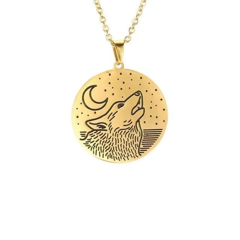 Gold Head Into The Stars Wolf Necklace - American Wolves