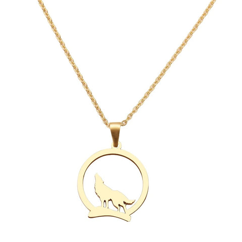 Gold Howling Wolf Necklace - American Wolves